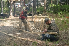 Setting building frame stakes and morticing inwales
