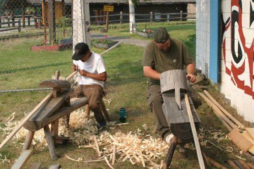Using draw knives on the shaving horses